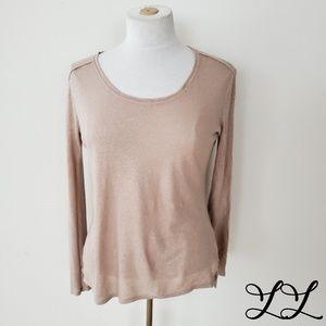 Caslon Top Shirt Light Pink Gold Glitter Sparkles